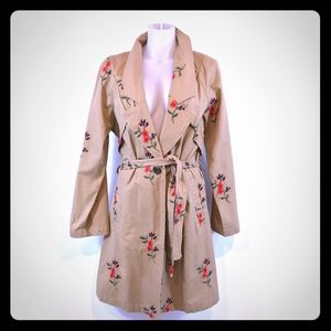 ANTHROPOLOGIE Embroidered Kahki Trench Coat